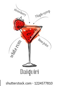 Daiquiri cocktail recipe description with ingredients. Vector colorful sketch outline hand drawn illustration on white background