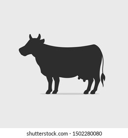 Dairy cow silhouette vector illustration
