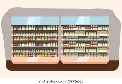 dairy department, milk shelf with fresh healthy in supermarket, big choice of organic farm products sale in food shop interior, store with yogurt and cheese vector illustration