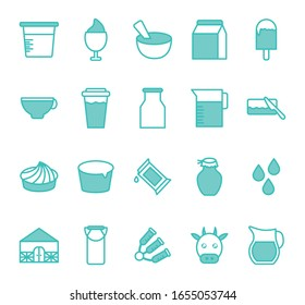 dairy dou color style icon set design, breakfast food fresh natural healthy product calcium and nature theme Vector illustration
