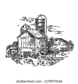 Dairy farm with cows. Landscape. Engraving style. Vector illustration.