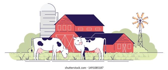 Dairy farm flat vector illustration. Cows grazing on pasture near red barns cartoon design element with outline. Village farmland with barnyard, rural ranch. Livestock farming, animal husbandry