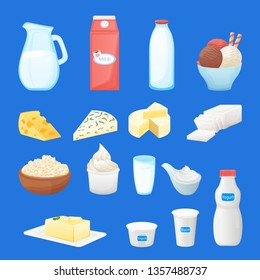 Dairy farm fresh products set. Vector cartoon healthy food illustration. Milk bottle, cottage cheese, yogurt package, butter icons.