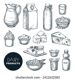 Dairy farm fresh products set. Vector hand drawn sketch illustration. Milk bottle, cottage cheese, yogurt package, butter icons.