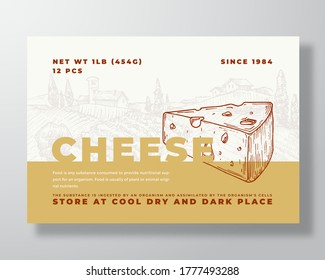 Dairy Food Label Template. Abstract Vector Packaging Design Layout. Modern Typography Banner with Hand Drawn Cheese Slice and Rural Landscape Background. Isolated.
