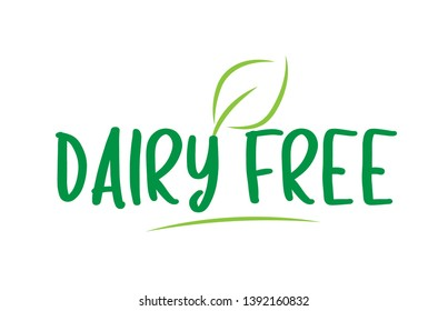 dairy free green word text with leaf suitable for icon, badge or typography logo design