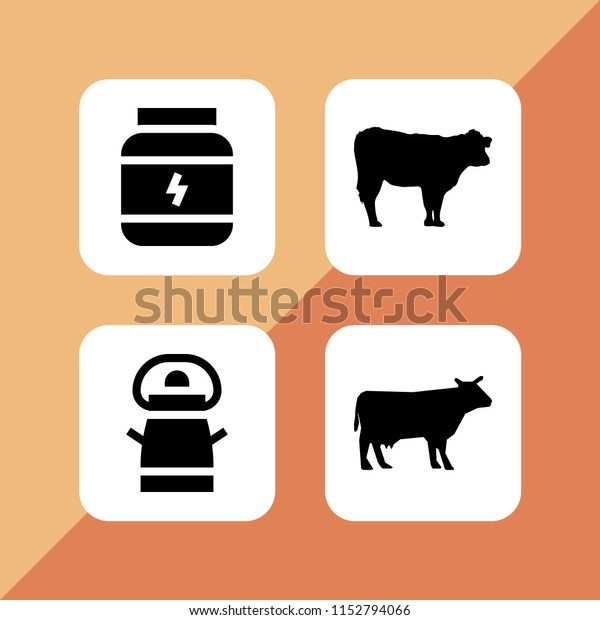 Dairy Icon 4 Dairy Set Cow Stock Vector (Royalty Free