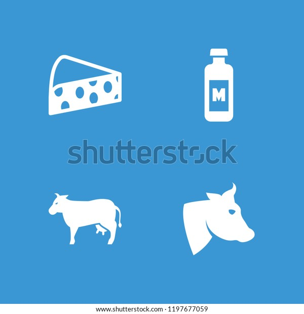 Dairy Icon Collection 4 Dairy Filled Stock Vector (Royalty