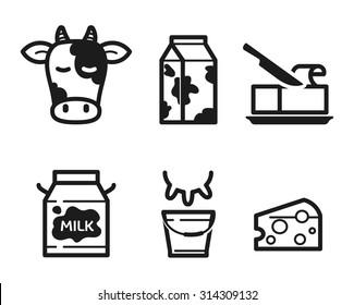 Dairy icons set, flat pictogram