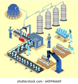Dairy product delivery stages milk can processing. 3d web isometric infographic concept farm factory. Isometric vector milk icon