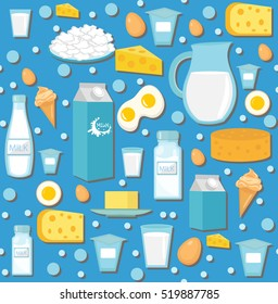 Dairy product seamless pattern. Flat style. Milk products background. Milk and Cheese texture. Farm Foods endless backdrop. Vector illustration