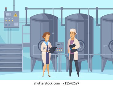 Dairy production cartoon composition with factory workers on background of tanks for milk pasteurization vector illustration
