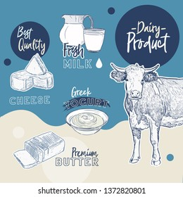 Dairy products collection. Cow, milk products, cheese , butter, sour cream, curd, yogurt. Farm foods. Farm landscape with cow. Vector Hand drawn illustration. Isolated objects on white - Vector