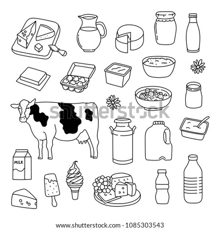 Dairy Products Hand Drawn Doodle Illustration Stock Vector Royalty