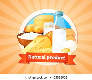 Dairy products, healthy food, farm. Design of labels, logo. Vector illustration. Big set