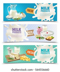 Dairy products horizontal banners set with milk and ice cream cartoon isolated vector illustration