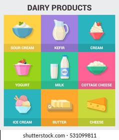 Dairy products icons collection. Vector illustration with dairy products, such as milk, butter, cream, yogurt, cheese, cottage cheese and ice cream in trendy flat style with short shadows.