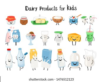 Dairy products for kids. Kid dairy snacking, kawaii organic yogurt and milk, yummy butter and cheese cream characters vector illustration isolated on background