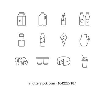 Dairy products line icons set with milk package, can, yogurt bottle, ice cream, jug, cow, cheese, milkshake.