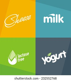 Dairy products logo designs templates. Milk cheese yogurt creative typography concepts.  Food symbols. Drink web icons. Healthy life style banners.