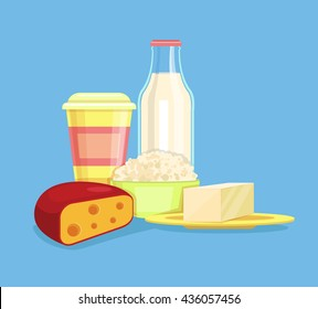 Dairy products. Milk products. Farm products. Cheese, milk, cottage cheese, yogurt. Vector flat cartoon illustration