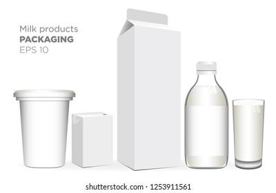 Dairy products mock up realistic Vector. Bottle, glass cup, carton boxs and yogurt. Vector 3d packaging label design.