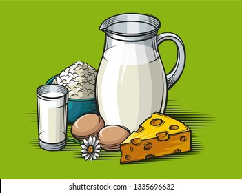 Dairy products on a green background. cheese, a glass of milk, chamomile, a carafe of milk, cottage cheese.