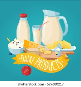 Dairy products poster with milk curd cheese butter yogurt and yellow ribbon on blue background vector illustration
