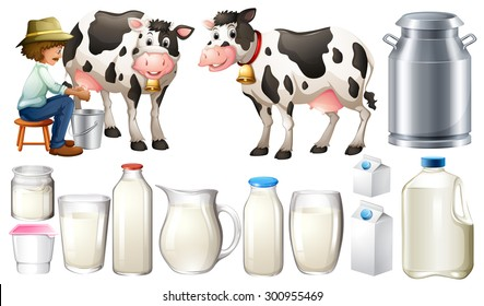 Dairy products set with farmer and milk