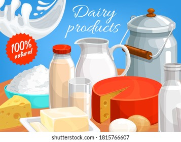 Dairy products vector curd, butter, cheese and sour cream with condensed or fermented baked milk in metal can. Natural farm food cream, yogurt, eggs and kefir, farmer store assortment cartoon poster