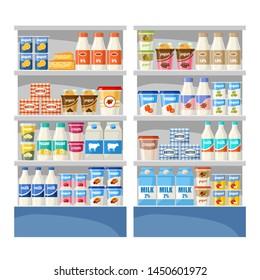Dairy shop. Supermarket. Vector illustration