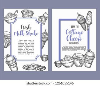 Dairy sweet Set of cards collection hand drawn vector illustration with dairy elements. Template for cafe menu, brochure with milkshake, ice cream, desserts Vintage retro style