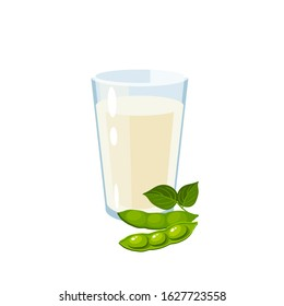Dairy-free soy milk glass, green soybean pod with leaves. Vector illustration cartoon flat icon isolated on white.