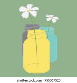 Daisies in Mason Jars