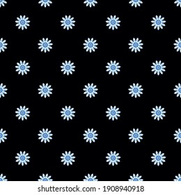 Daisies on a dark blue background. The classic simple floral pattern for textile, fabric, background, wrapping paper, Wallpaper, background, and ceramics.