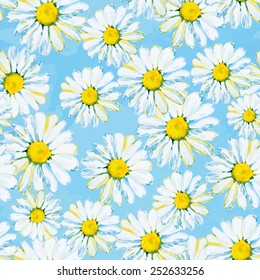 Daisies on the light blue background. Watercolor seamless pattern.