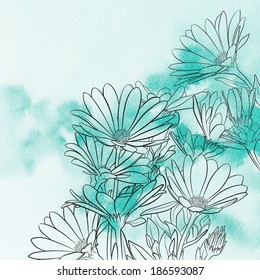Daisies Over Watercolor Background, Vector Illustration