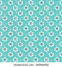 Daisies. Vintage Floral Seamless Pattern. Cosmos Flower. Small White  Flowers on Turquoise Background. Vector illustration