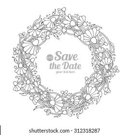 Daisy, camomile, chamomile wild forest flowers wreath for bride. Vector. Hand drawn artwork. Love concept for wedding invitations, cards, tickets, congratulations. Black and white
