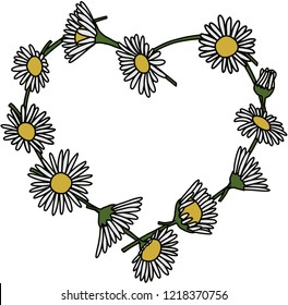 Daisy Chain Heart Isolated