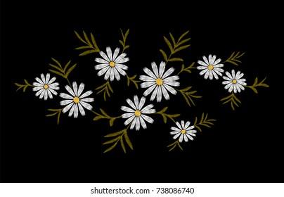 Daisy embroidery print texture flower arrangement leaves. Fashion ornament decoration vintage floral black background vector illustration