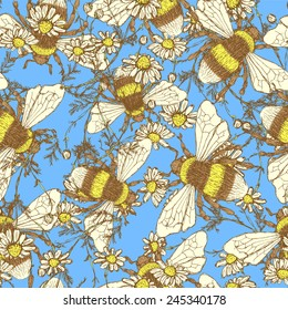 Daisy flower and bees, vector seamless pattern