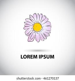 daisy flower object logo. Vector
