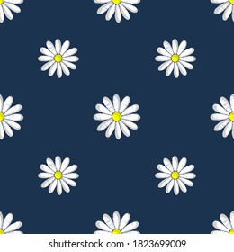 Daisy flower on a blue background. Ideal for scrapbooking, packing materials, fabrics and more.