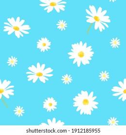 Daisy flower seamless pattern on blue background illustration. chamomile flowers.