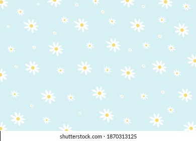 Daisy flower vector pattern illusration floral background.  Pretty floral pattern for print. Flat design vector.