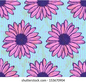 Daisy flower, vector seamless pattern
