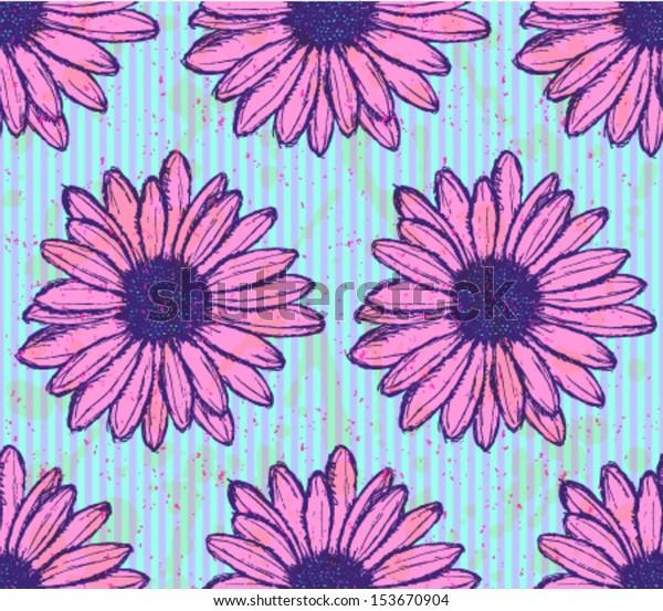 Daisy flower, vector seamless pattern