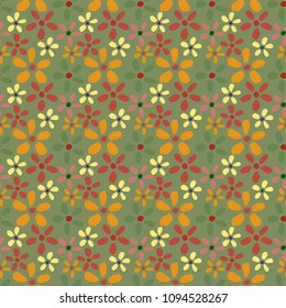 Daisy flowera pattern. Seamless flowers background for fabric, wrapping, wallpaper, paper.