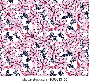 Daisy flowers and leaves pattern for textile print,fashion design,wallpaper